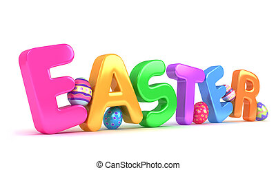3D Illustration of Easter Eggs and the Word Easter