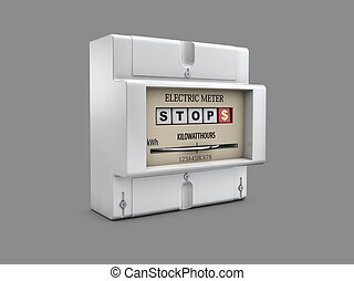 3d Illustration of Electric meter on gray background