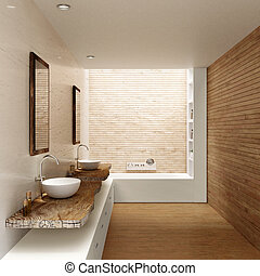 3D render of modern minimalist nordic style bathroom. Rough wooden countertops with ceramic washbasins and chrome faucets. Parquet flooring and wooden with cozy wooden walls.