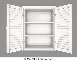 3d illustration of empty cupboard