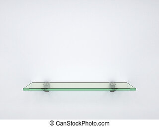 empty glass shelf - 3d illustration of empty glass shelf