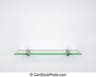 empty glass shelf - 3d illustration of empty glass shelf