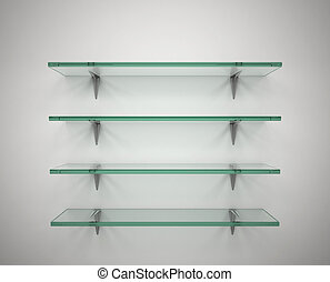 empty glass shelves - 3d illustration of empty glass shelves