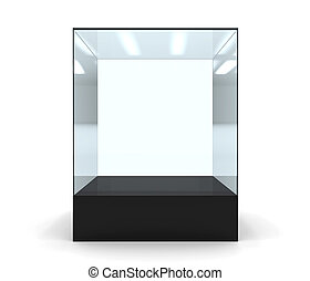 3D illustration of empty glass showcase in front