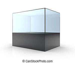 3D illustration of empty glass showcase