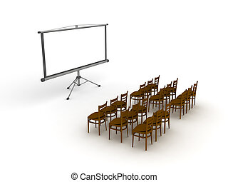 3D illustration of empty meeting room with projector screen