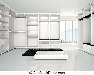 3d illustration of empty modern wardrobe