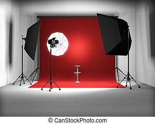 photo studio - 3d illustration of empty photo studio