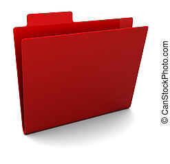 3d illustration of empty red folder over white background