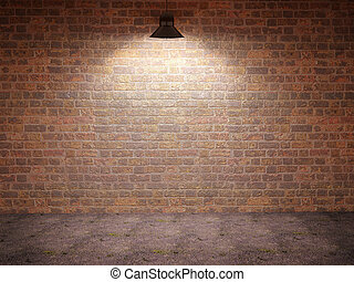 3d illustration of empty room with a lantern