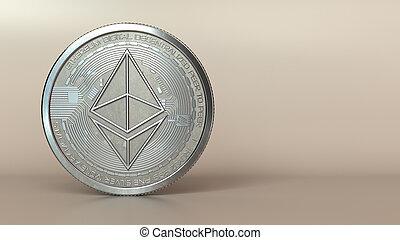 ethereum - 3d illustration of ethereum silver coin