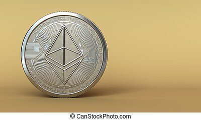 ethereum - 3d illustration of ethereum silver coin with ...