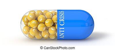 3d illustration of euro pill.