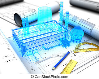 factory design - 3d illustration of factory design concept