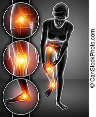 3d Illustration of Female feeling Leg pain