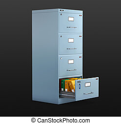 3d Illustration of Files in a filing cabinet