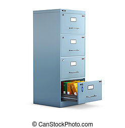 3d Illustration of Filing cabinet with a folders in an open drawer