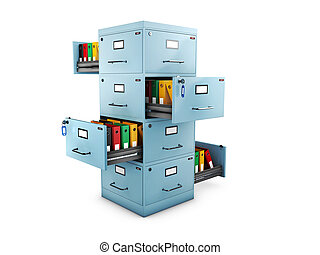 3d Illustration of Filing cabinet with a folders in an open drawers open on all sides