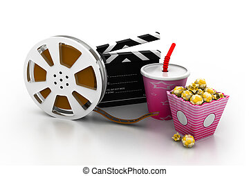 3d illustration of film slate, movie reel, popcorn and cup ...