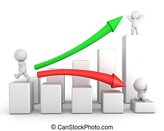3D illustration of financial chart showing how to transform...