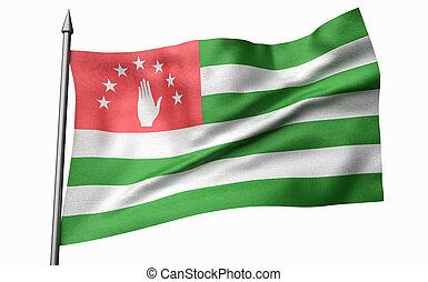 3D Illustration of Flagpole with Abkhazia Flag