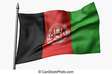 3D Illustration of Flagpole with Afghanistan Flag