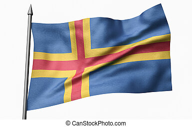 3D Illustration of Flagpole with Aland Flag