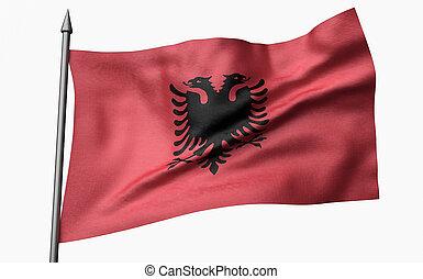 3D Illustration of Flagpole with Albania Flag