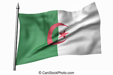 3D Illustration of Flagpole with Algeria Flag