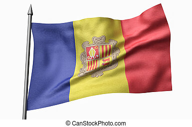 3D Illustration of Flagpole with Andorra Flag