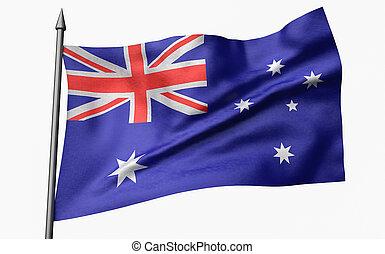 3D Illustration of Flagpole with Australia Flag