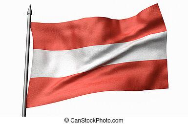 3D Illustration of Flagpole with Austria Flag