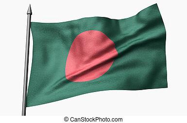 3D Illustration of Flagpole with Bangladesh Flag