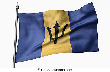 3D Illustration of Flagpole with Barbados Flag