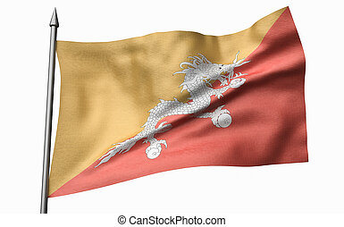 3D Illustration of Flagpole with Bhutan Flag