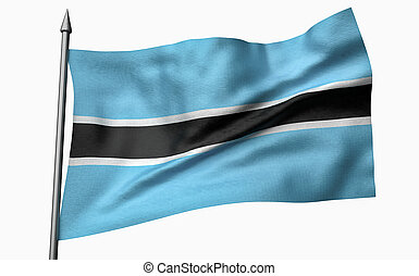 3D Illustration of Flagpole with Botswana Flag