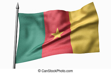 3D Illustration of Flagpole with Cameroon Flag