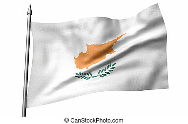 3D Illustration of Flagpole with Cyprus Flag