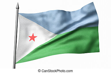 3D Illustration of Flagpole with Djibouti Flag