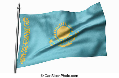 3D Illustration of Flagpole with Kazakhstan Flag