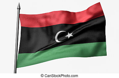 3D Illustration of Flagpole with Libya Flag