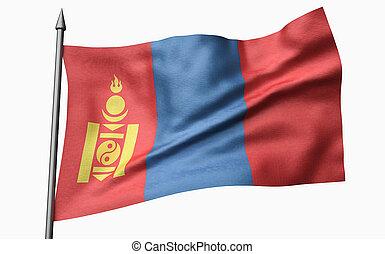 3D Illustration of Flagpole with Mongolia Flag