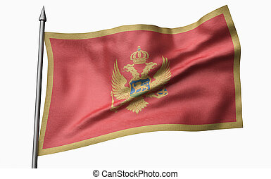 3D Illustration of Flagpole with Montenegro Flag