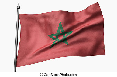 3D Illustration of Flagpole with Morocco Flag