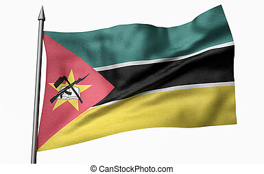 3D Illustration of Flagpole with Mozambique Flag
