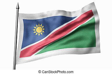 3D Illustration of Flagpole with Namibia Flag