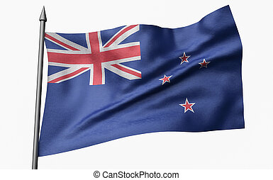 3D Illustration of Flagpole with New Zealand Flag