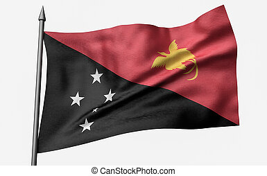 3D Illustration of Flagpole with Papua New Guinea Flag