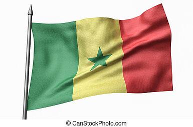 3D Illustration of Flagpole with Senegal Flag