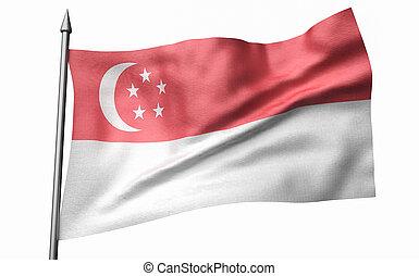 3D Illustration of Flagpole with Singapore Flag